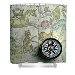 Star Map And Compass Shower Curtain by Garry Gay