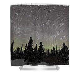Star Trails, Milky Way And Green Aurora Shower Curtain by Yuichi Takasaka