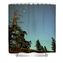 Star Trails, North Star And Old Douglas Shower Curtain by David Nunuk