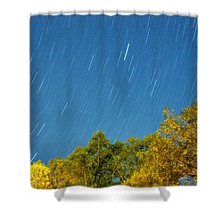 Star Trails On A Blue Sky Shower Curtain by Kay Lovingood