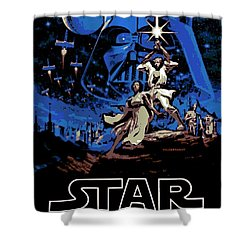 Star Wars Poster Shower Curtain by George Pedro