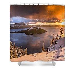 Starburst Sunrise At Crater Lake Shower Curtain