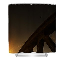 Shower Curtain featuring the photograph Starry Night On Sunset Bridge by Andy Prendy