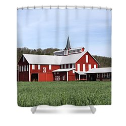 Stately Red Barn With Elongated Clerestory Cupola Shower Curtain by John Stephens