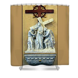 Station Of The Cross 02 Shower Curtain by Thomas Woolworth