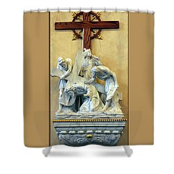 Station Of The Cross 03 Shower Curtain by Thomas Woolworth