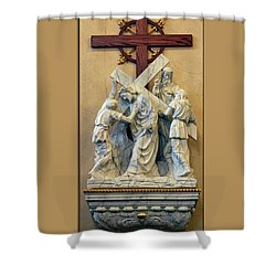 Station Of The Cross 05 Shower Curtain by Thomas Woolworth