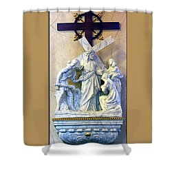 Station Of The Cross 08 Shower Curtain by Thomas Woolworth