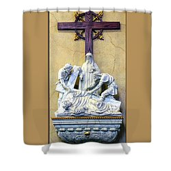 Station Of The Cross 09 Shower Curtain by Thomas Woolworth