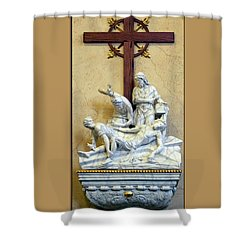 Station Of The Cross 11 Shower Curtain by Thomas Woolworth