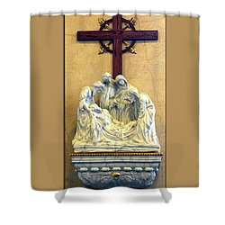 Station Of The Cross 14 Shower Curtain by Thomas Woolworth