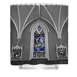 Stations Of The Cross Shower Curtain by Susan Candelario