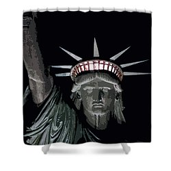 Statue Of Liberty Poster Shower Curtain by David Pringle