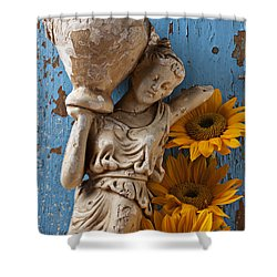 Statue Of Woman With Sunflowers Shower Curtain by Garry Gay