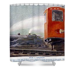 Steam Trains Versus Electric Shower Curtain by Mary Evans and Photo Researchers