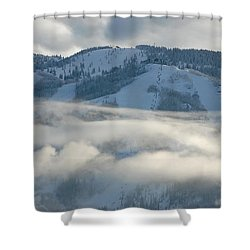 Shower Curtain featuring the photograph Steamboat Ski Area In Clouds by Don Schwartz