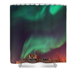 Steamboat Under Northern Lights Shower Curtain by Priska Wettstein