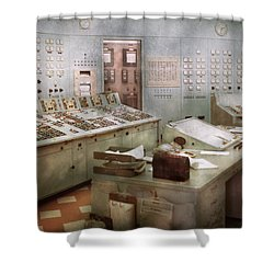 Steampunk - Retro - The Power Station Shower Curtain by Mike Savad