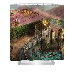 Steampunk - The Age Of Invention Shower Curtain by Mike Savad