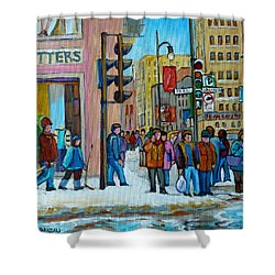Ste.catherine And Peel Streets Shower Curtain by Carole Spandau