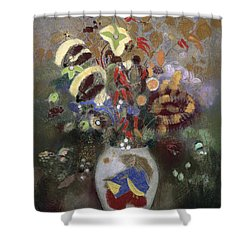 Still Life Of A Vase Of Flowers Shower Curtain by Odilon Redon