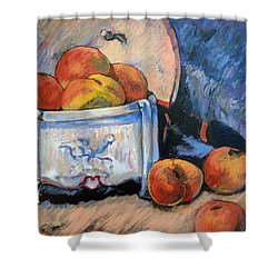 Shower Curtain featuring the painting Still Life Peaches by Tom Roderick