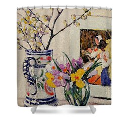 Still Life With Flowers In A Vase   Shower Curtain by Rowley Leggett