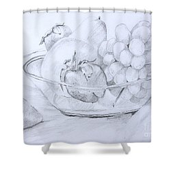 Still Life With Fruit Shower Curtain by Jan Bennicoff
