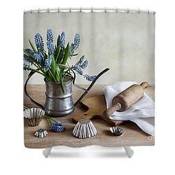 Still Life With Grape Hyacinths Shower Curtain by Nailia Schwarz