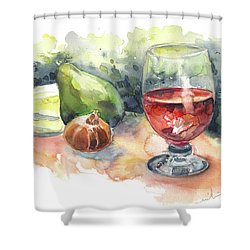 Still Life With Red Wine Glass Shower Curtain by Miki De Goodaboom