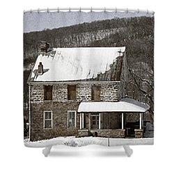 Stone Farmhouse In Snow Shower Curtain by John Stephens