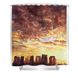 Stonehenge Sunrise Shower Curtain by Ryan Fox
