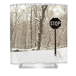 Stop Snowing Shower Curtain by John Stephens