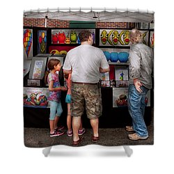 Store Front - Artist - Puppy Love  Shower Curtain by Mike Savad