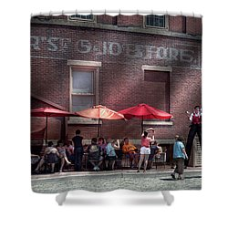 Storefront - Bastile Day In Frenchtown Shower Curtain by Mike Savad