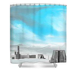 Storm Approachs Strange City Shower Curtain by David Lane