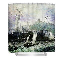 Storm At Scarborough Shower Curtain by Lianne Schneider