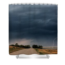 Storm Clouds And Lightning Along A Saskatchewan Country Road Shower Curtain by Mark Duffy