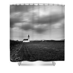 Storm Clouds Gather Over Church Shower Curtain