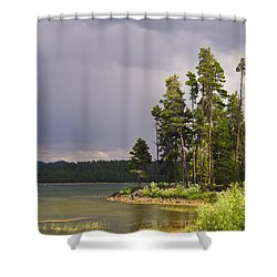 Storm Clouds Over A Lake Shower Curtain by Anne Mott