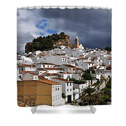 Storm Clouds Over Ardales Spain Shower Curtain by Mary Machare