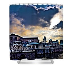 Storm Clouds Over Philadelphia Shower Curtain by Bill Cannon