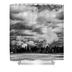 Storm Over Firehole Lake Drive Shower Curtain by Daniel Hagerman