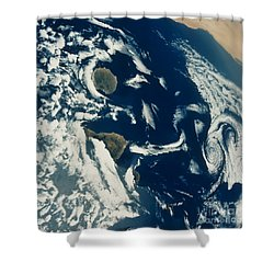 Stratus Cloud Formations Over Canary Shower Curtain by Nasa