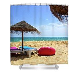 Straw Umbrellas Shower Curtain by Carlos Caetano