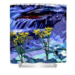 Shower Curtain featuring the photograph Stream And Flowers by Zawhaus Photography