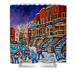 Street Hockey Game In Winter Shower Curtain by Carole Spandau