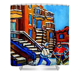 Street Hockey Near Staircases Montreal Winter Scene Shower Curtain by Carole Spandau