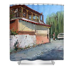 Street In A Greek Village Shower Curtain