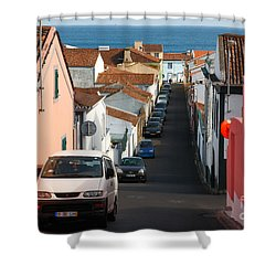 Street In Lagoa - Azores Shower Curtain by Gaspar Avila